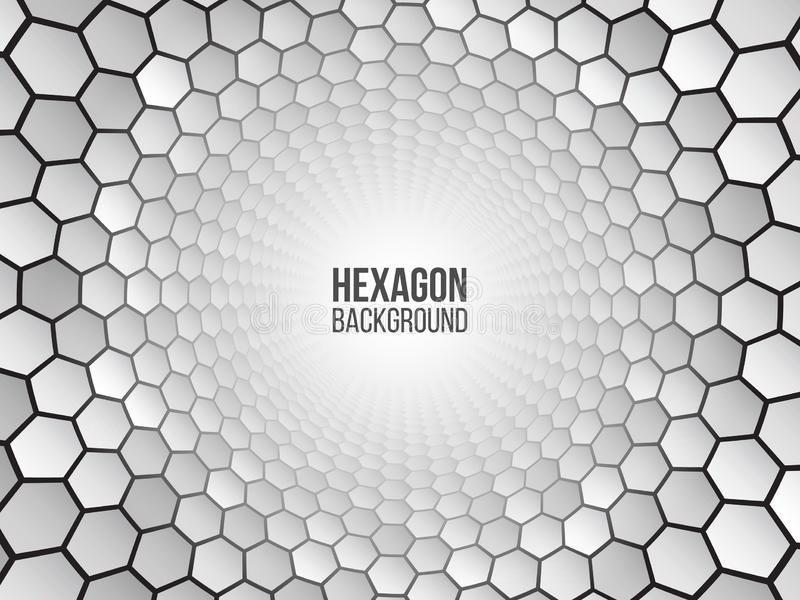 Perspective grid hexagon tunnel. Abstract background with white shapes. Vector illustration vector illustration