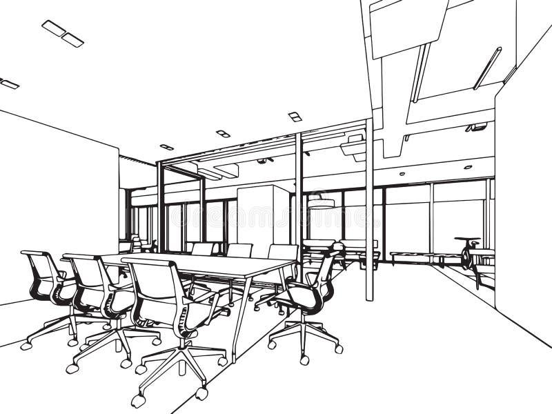 Perspective intérieure de dessin de croquis d'ensemble d'un bureau de l'espace illustration de vecteur