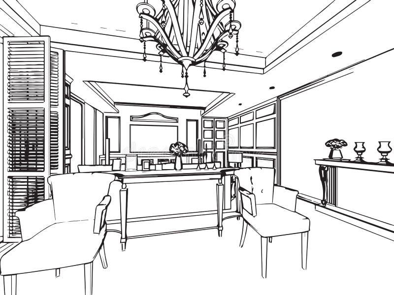 Download Perspective Intérieure De Dessin De Croquis Du0027ensemble De Maison  Illustration De Vecteur
