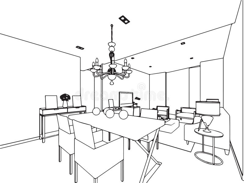 Perspective int rieure de dessin de croquis d 39 ensemble de for Conception de croquis de plan de maison
