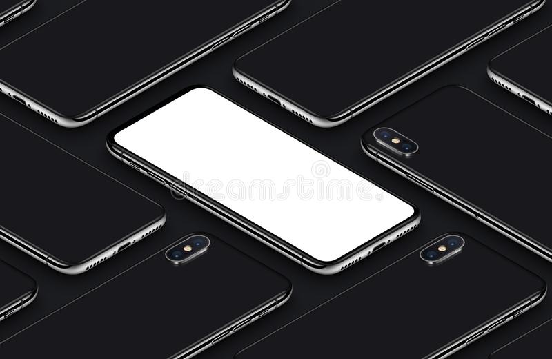 Similar to iPhone X perspective isometric smartphone mockup pattern front side and back sides black poster vector illustration