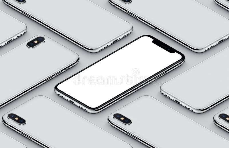 Similar to iPhone X perspective isometric smartphone mockup pattern front side and back sides white poster royalty free illustration