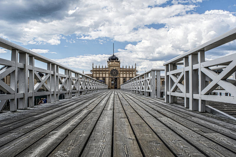 Perspective of old outdoor bathhouse royalty free stock images