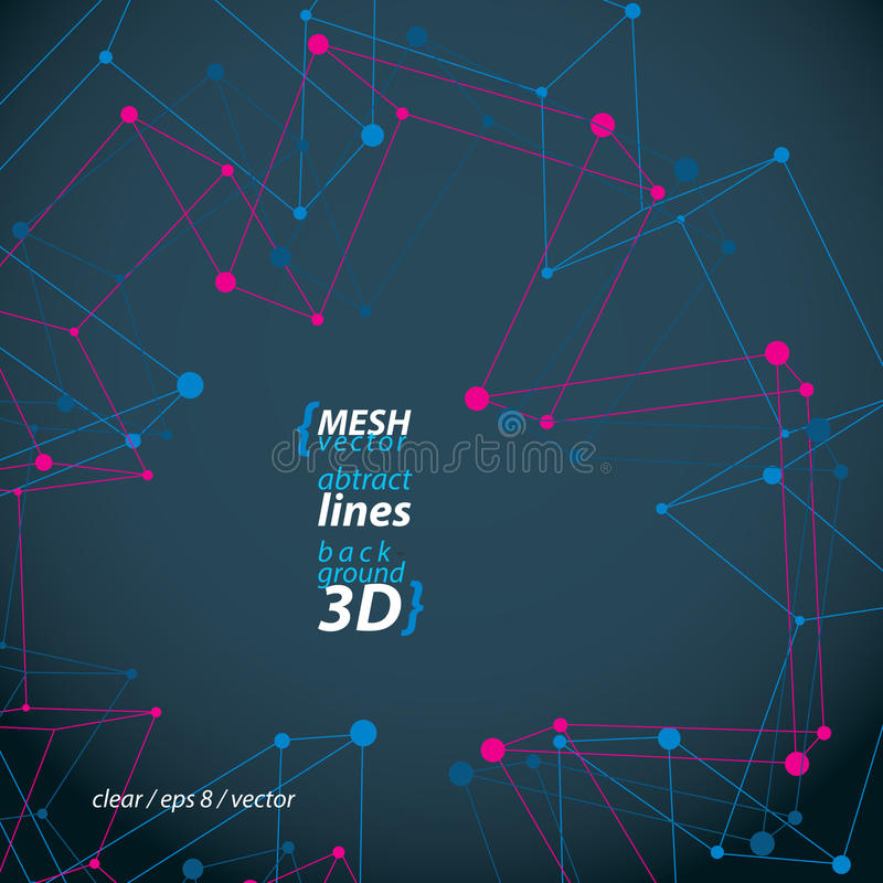 Perspective polygonal construction figure isolated on dark background, 3D wireframe spatial clear eps 8 vector. Illustration, medical cross theme royalty free illustration