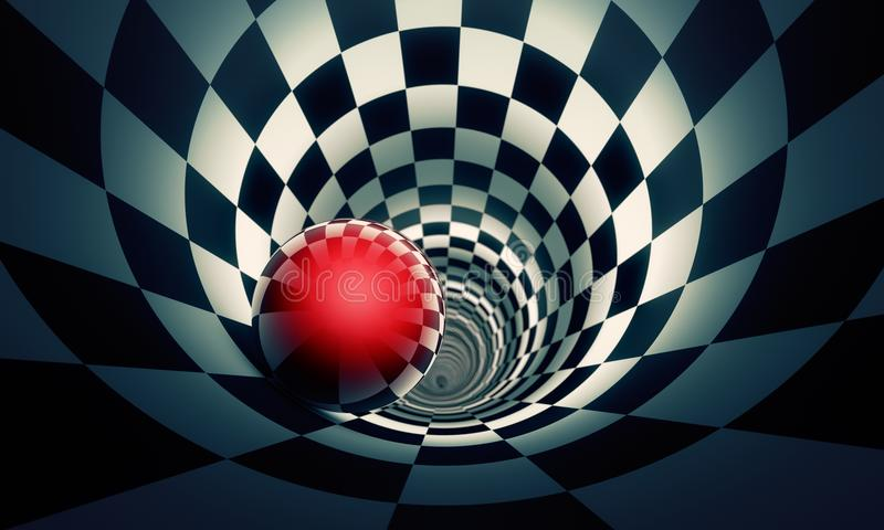 Perspective and predetermination. Red ball in a chess tunnel co. Ncept image. The space and time. 3D illustration. Available in high-resolution and several sizes royalty free illustration