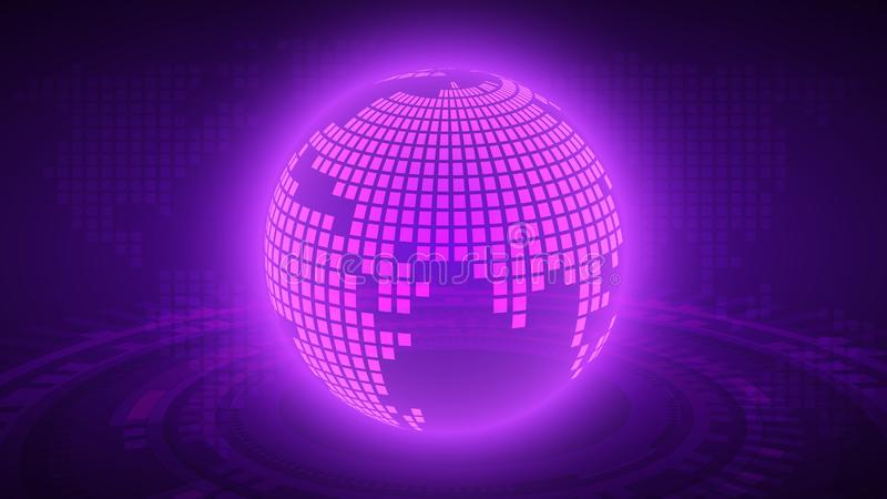 perspective purple global technology vector background,virtual technology concept,cyberspace with world map,global network system stock illustration