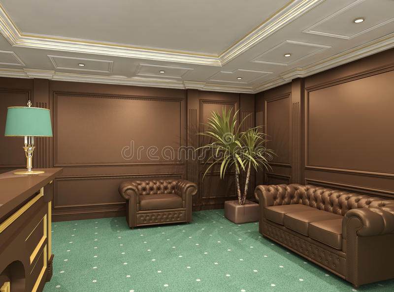 Perspective Of Reception Hall With Sofa Stock Photo