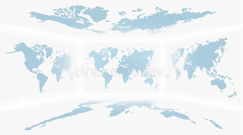 Perspective room and set of all side world map Dotted design background . Vector vector illustration