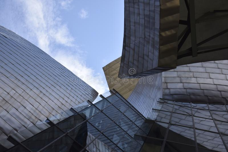 A perspective section of the Guggenheim stand out the sky. Bilbao, Spain stock images