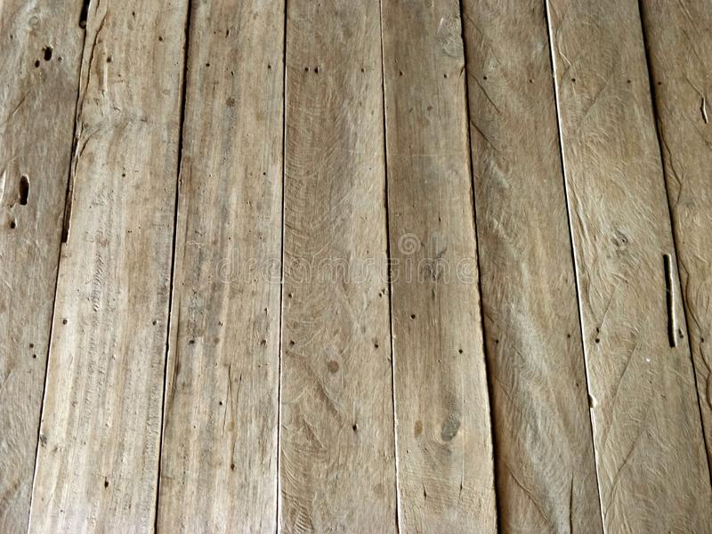 A perspective shot of an old wooden texture background, close-up stock image