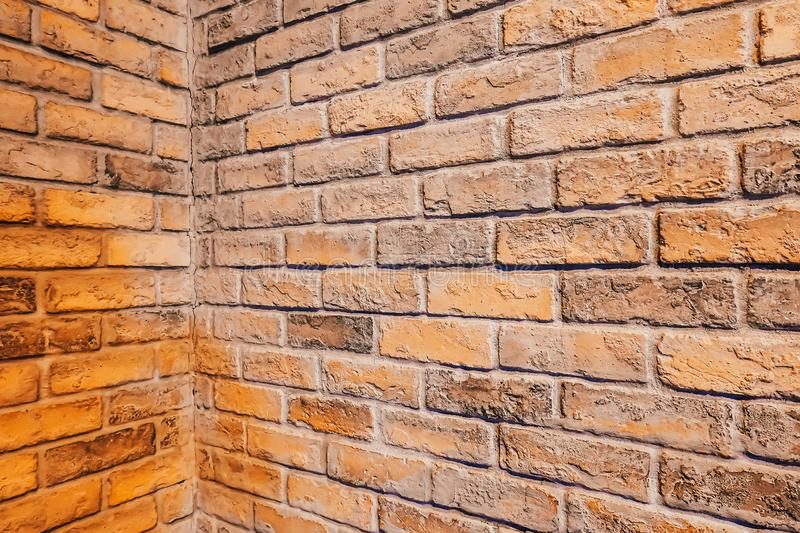 Perspective, side view of old red brick wall texture background stock photos