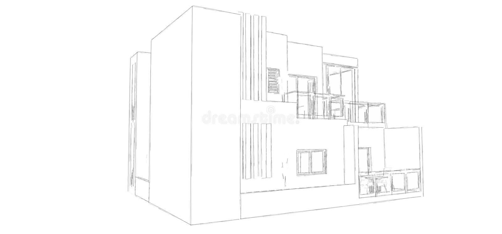 Perspective Sketch. Its a sketch for an architectural house vector illustration