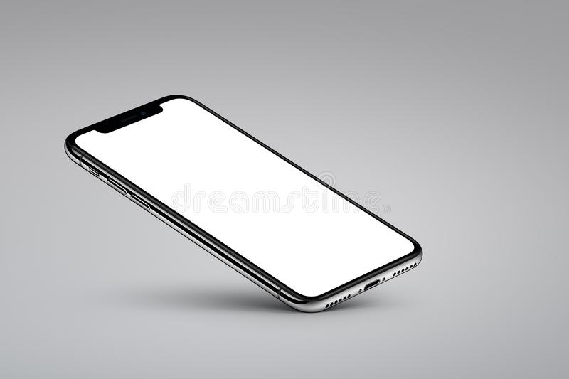 iPhone X. Perspective veiw smartphone mockup rests on one corner on gray background stock illustration