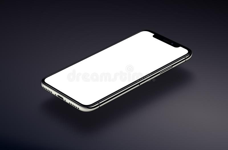 iPhone X. Perspective smartphone mockup hovers over a dark surface vector illustration