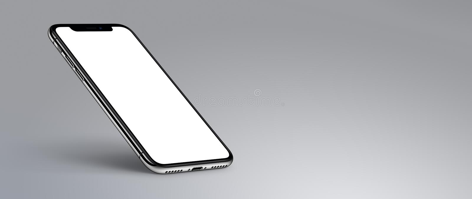 iPhone X. Perspective smartphone mockup with shadow on gray background banner with copyspace stock illustration