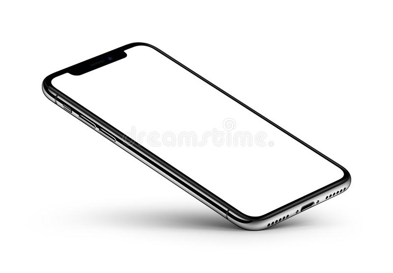 IPhone X. Perspective view smartphone mockup with blank screen rests on one corner. IPhone X. Perspective smartphone mockup on white background. Perspective view royalty free illustration