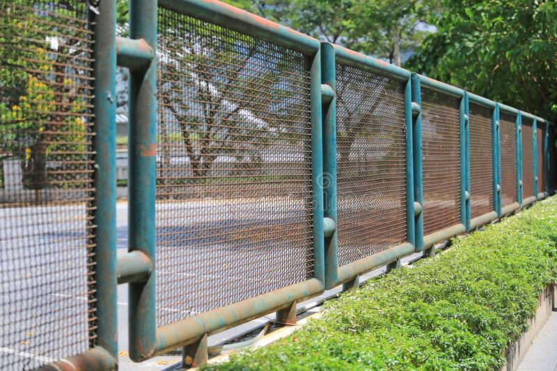 Perspective Steel wire mesh fence outdoor royalty free stock photo