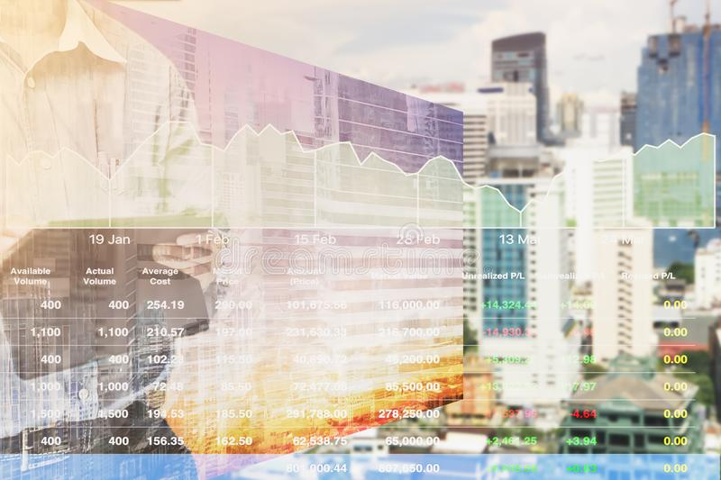 Perspective stock market index information of real estate business. stock image