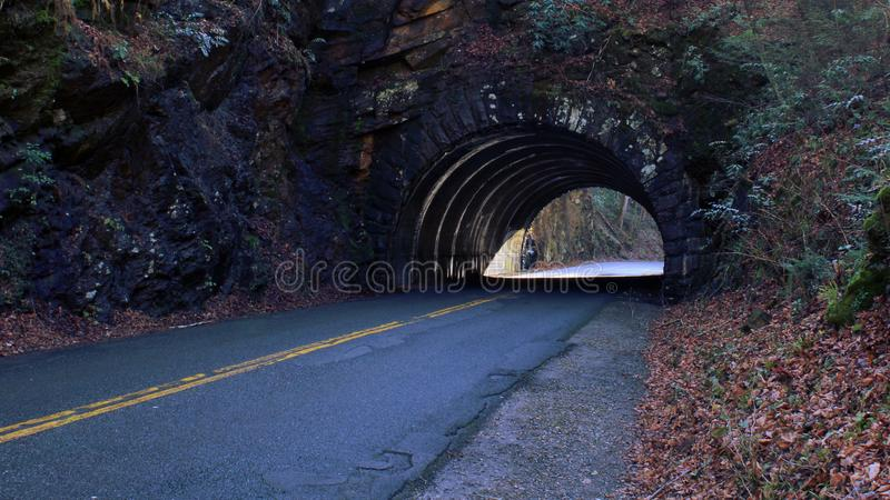 Perspective Street Photo of a Empty Tunnel Road. Perspective Street Photo of a Empty Tunnel Road on the Mountain Side stock images