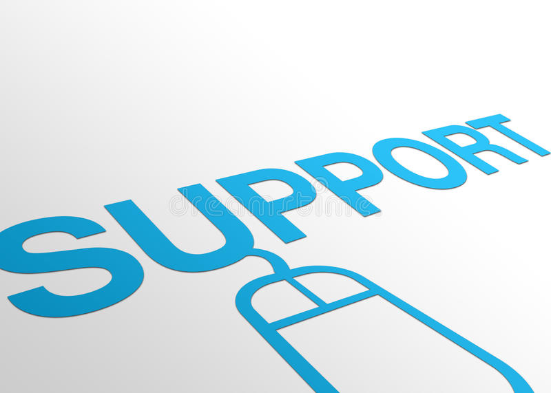 Perspective Support Sign. High resolution perspective graphic of support with a computer mouse attached royalty free illustration