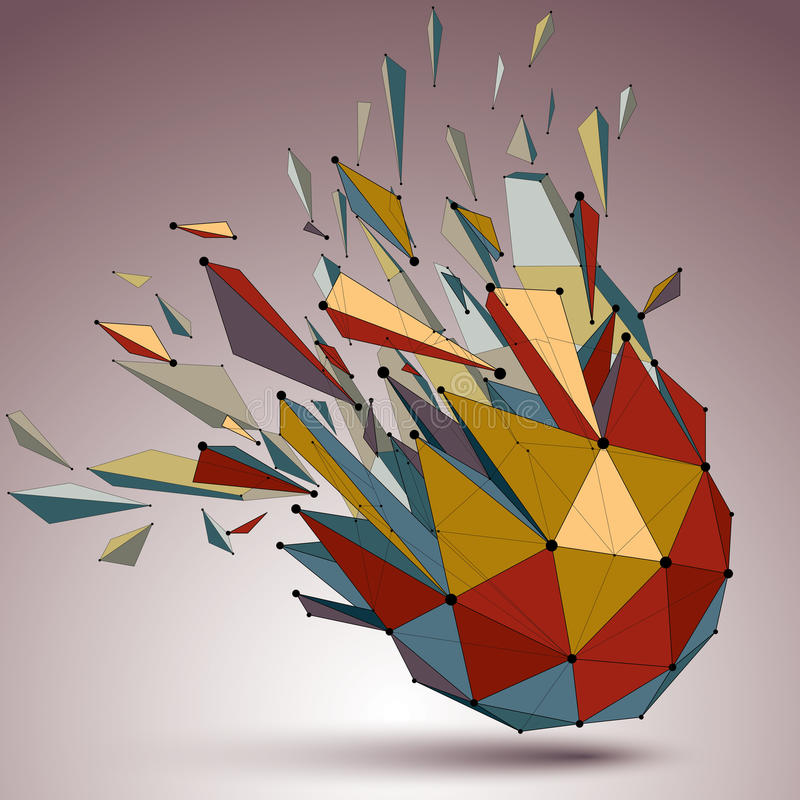 Perspective technology demolished shape with lines and dots conn. Ected, bright polygonal wireframe object. Explosion effect, abstract faceted element cracked vector illustration