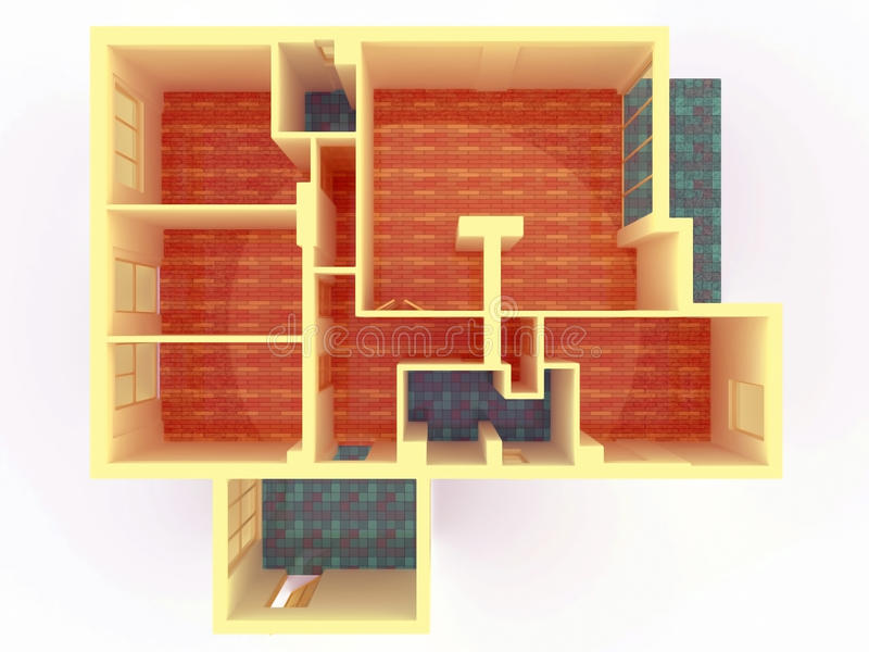 Download Perspective View Of Big Apartment With Walls From Stock Illustration - Image: 24597420