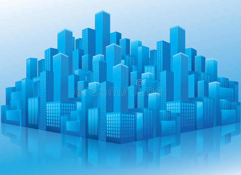 Perspective view of blue business office buildings stock illustration