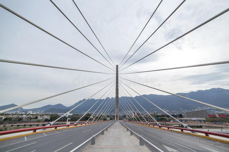 Cable-stayed bridge in Monterrey. Mexico royalty free stock photos
