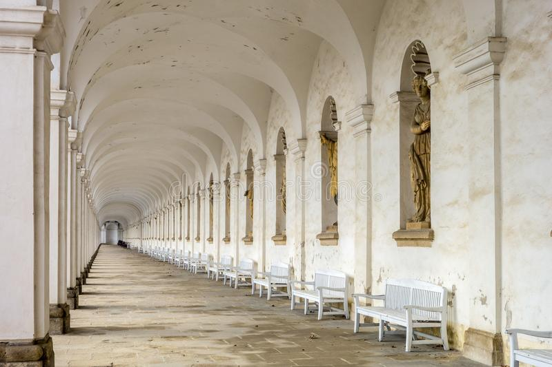 Perspective view of colonnade in Kvetna zahrada flower garden in Kromeriz. Czech Republic stock photography