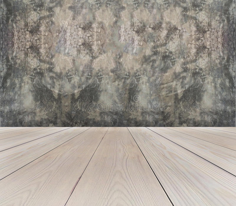 Perspective View of Empty Light Brown Wooden Terrace with Abstract Grunge Gray Concrete Wall Background Texture used as Vintage Te royalty free stock photography