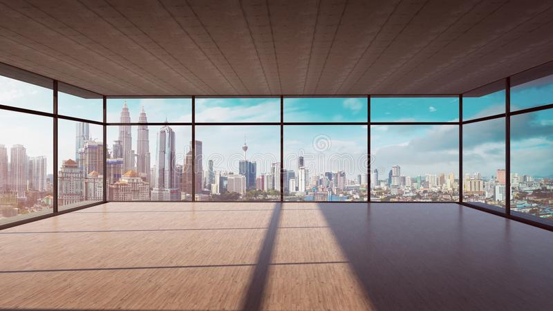 Perspective view of empty wood floor and cement ceiling interior with city skyline view. Mixed media royalty free illustration
