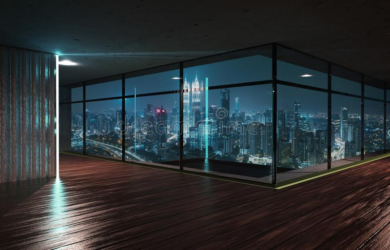 Perspective view of empty wood floor and cement ceiling interior. With city skyline view . Mixed media royalty free illustration