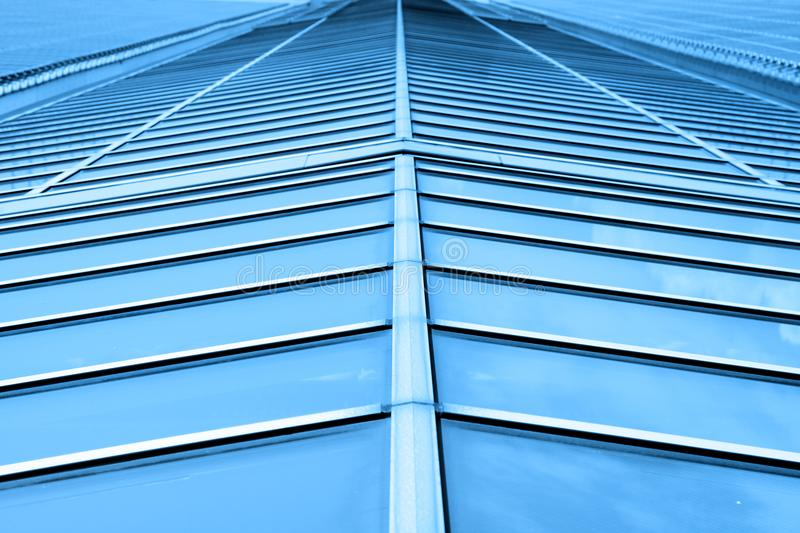 Perspective view of glass roof stock photos