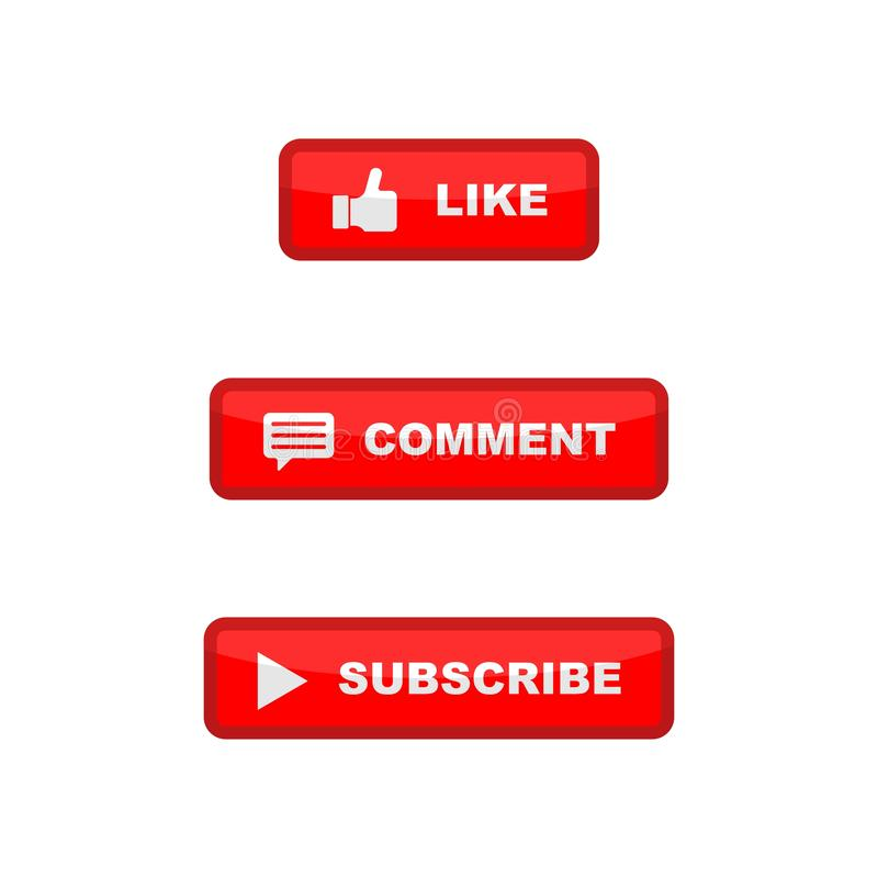 Like, comment, and subscribe icon button. royalty free illustration