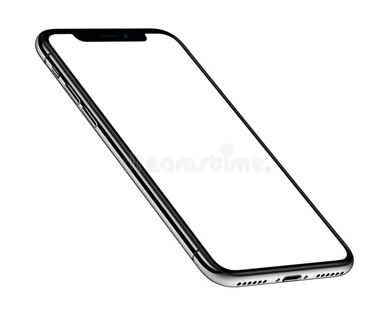 Perspective view isometric similar to iPhone X smartphone mockup front side CW rotated. Perspective view similar to iPhone X smartphone mockup. Isometric royalty free illustration