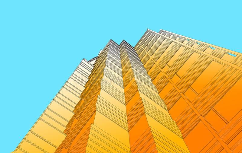 Perspective view of modern building. In vector illustration