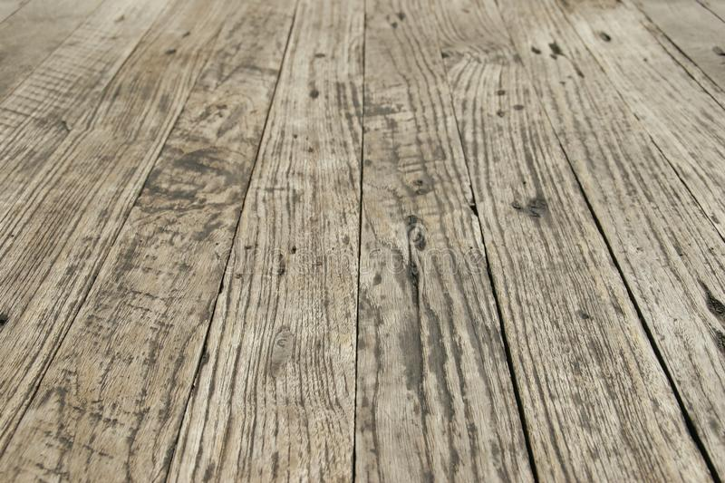 Perspective View of Old Wood Floor as Background. Perspective View of Weathered Wood Floor as Background stock image