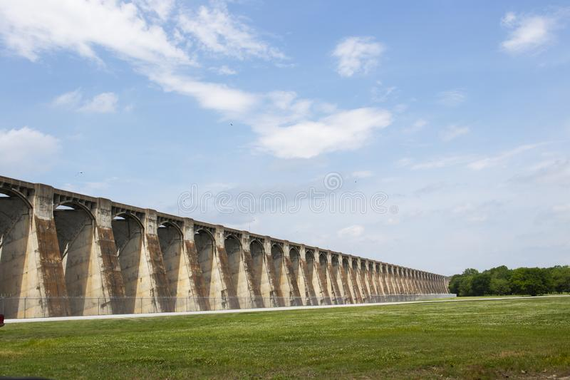 Perspective view of Pensacola Dam - the longest multiple-arch dam in the world - located in Langley OK USA 12 2018 royalty free stock photo