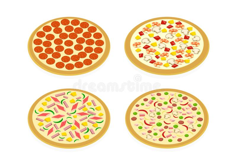 Perspective view Set of pizza on white, vector art stock illustration