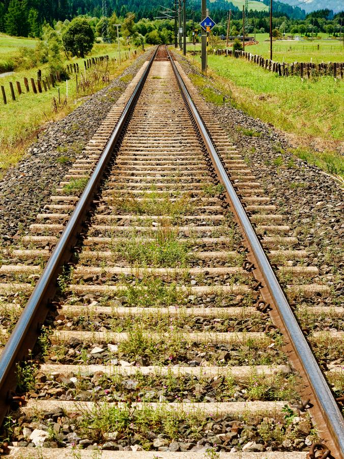 Perspective view of singe railroad track.  stock photo