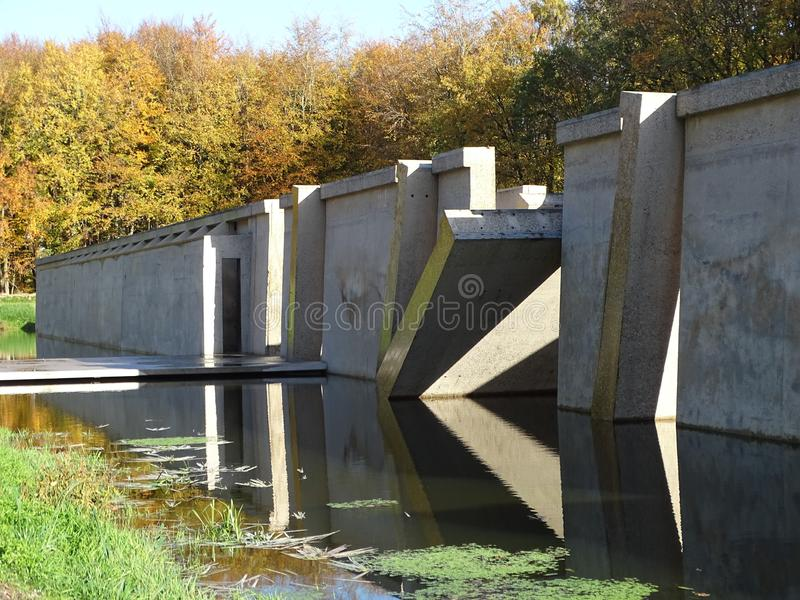 03 Test facility turned concrete art in public forest Deltawerk// royalty free stock image