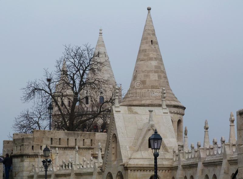 Perspective view of stone turrets on the castle hill in Budapest royalty free stock photo
