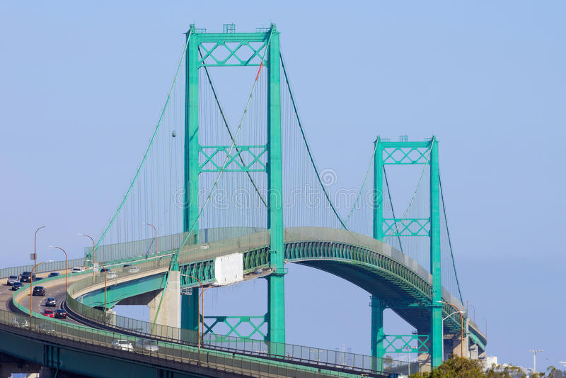 Perspective View of the Vincent Thomas Bridge. The Vincent Thomas Bridge in the Los Angeles Harbor, San Pedro, California, USA stock photos