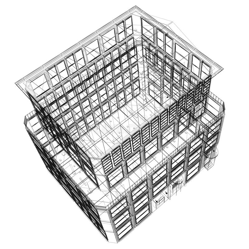 Perspective view of wireframe building. Perspective view of wireframe seven storey building from top over white background vector illustration