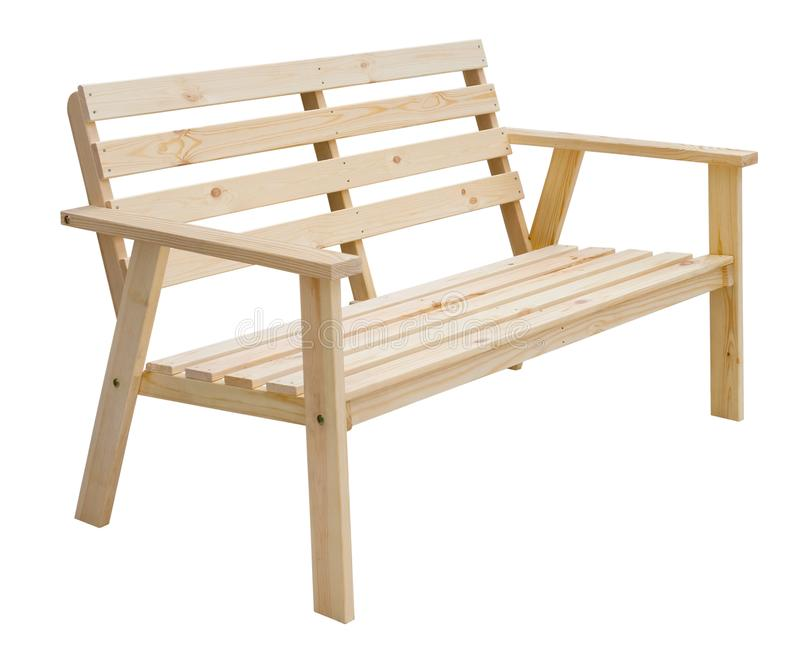 Rustic Wood Sitting Bench Isolated. Stock Photo