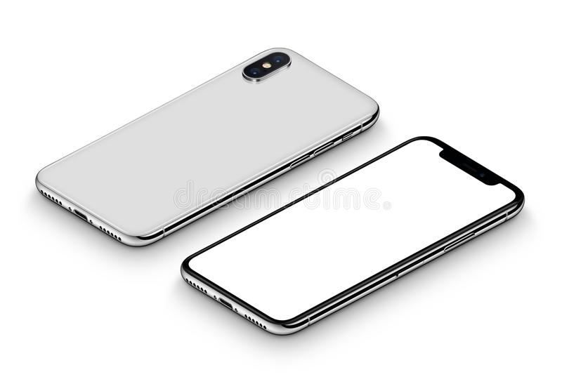 Perspective white smartphone like iPhone X mockup front side and back side CW rotated lying on surface royalty free stock photo