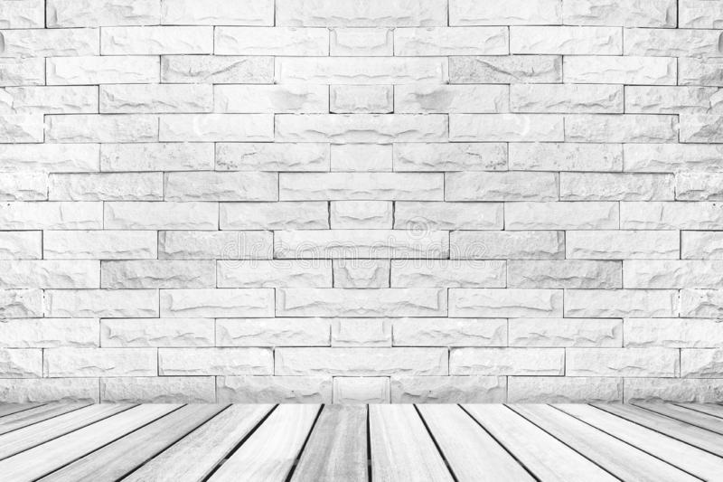 Perspective white wood deck overlook the white brick wall background . Services include product display template stock photography