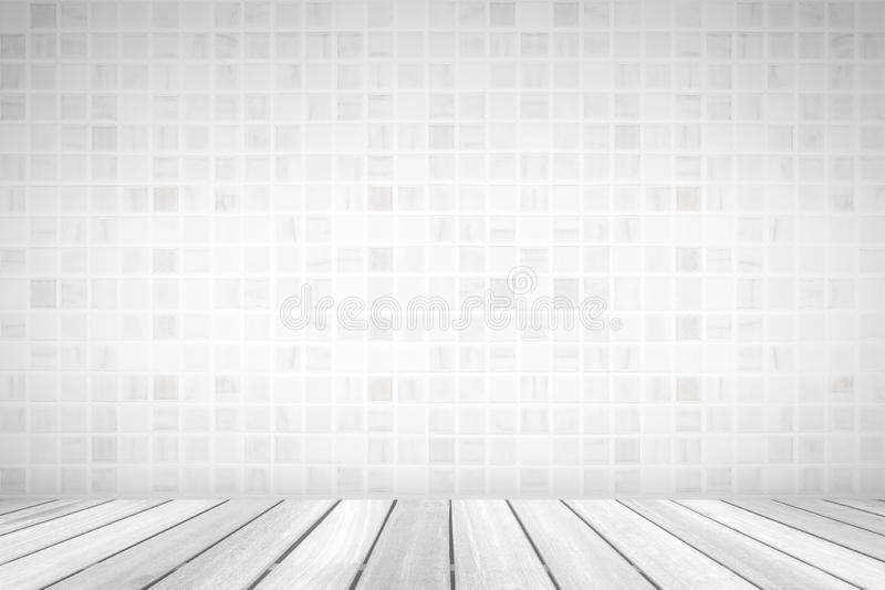 Perspective white wood floor deck overlook the white tile background. Services include product display  template stock images