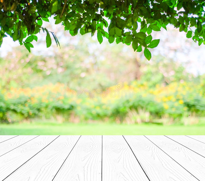 Perspective white wood over blur trees with bokeh background. Spring and summer season royalty free stock photo