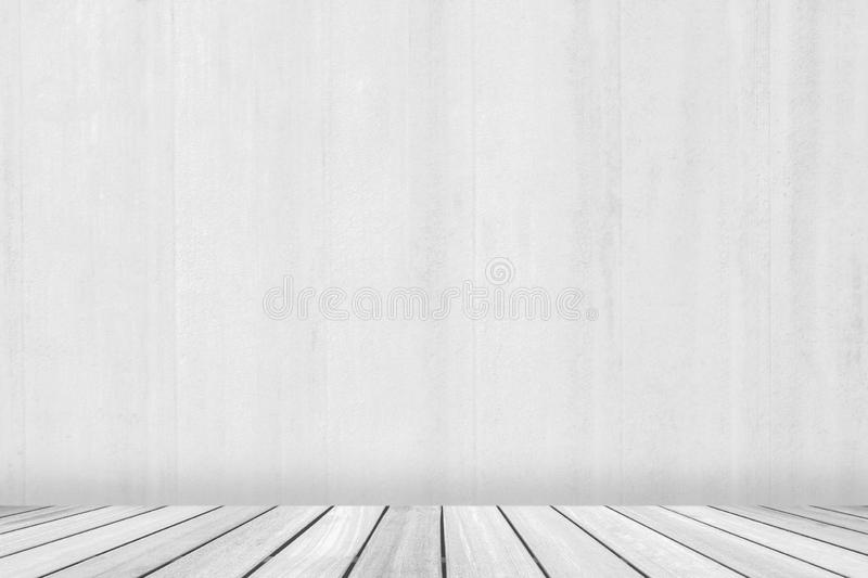 Perspective wood deck overlook the white concrete background . Services include product display template stock photography